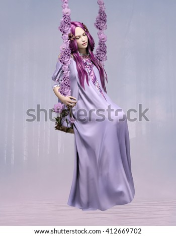 Sleeping beauty - Beautiful woman with purple hair and close eyes on a swing - 3D illustration - stock photo