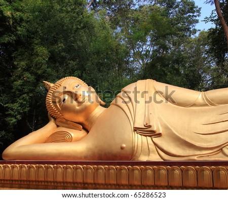 sleeping bronze statue Buddha, image - stock photo