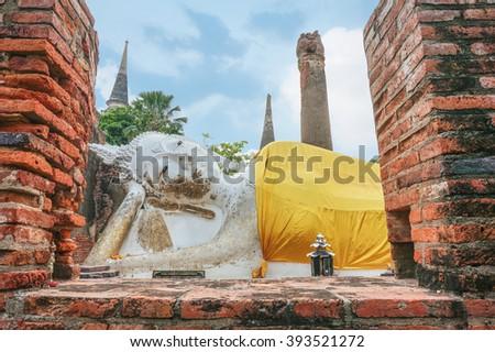 Sleeping Buddha statue at at Wat Yai Chaimongkhon Temple, Ayutthaya, Thailand. - stock photo