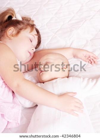 sleeping children - stock photo
