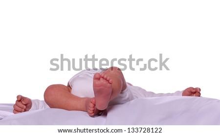 sleeping cute newborn in diaper - stock photo