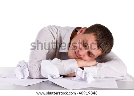 sleeping manager on worker place - stock photo