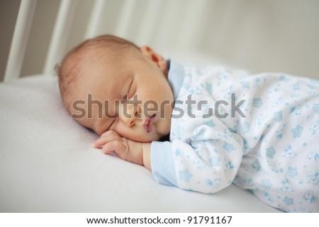sleeping newborn - stock photo