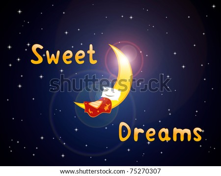 """sleeping pillow on the crescent with title """"sweet dreams"""" - stock photo"""