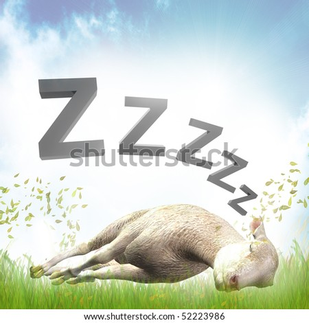 Sleeping sheep or lamb illustration - stock photo