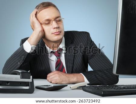 Sleeping. Sleeping businessman - stock photo
