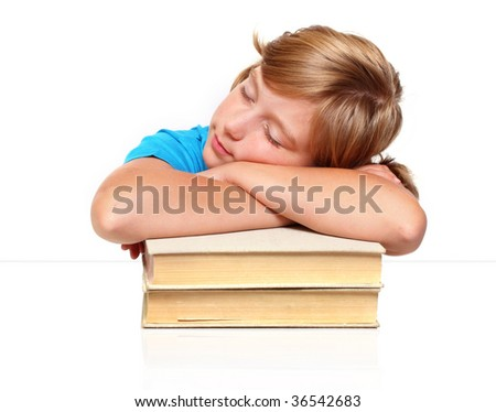 Sleeping student girl after hard studying - stock photo
