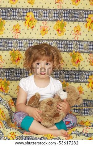 sleepy little girl - stock photo