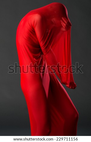 Slender young woman in a sheer red body stocking - stock photo