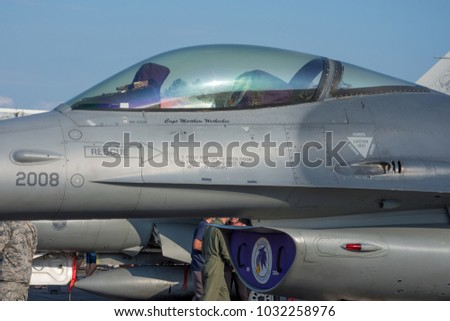 Sliac, Slovakia August. 26. 2017. SIAF 2017 - USAF F-16 Fighting Falcon canopy at Sliac Airbase