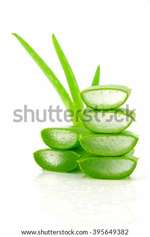 Slice Aloe Vera (Aloe barbadensis Mill.,Star cactus, Aloe, Aloin, Jafferabad or Barbados) a very useful herbal medicine for skin care and hair care. - stock photo