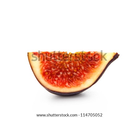 Slice fresh figs with the seeds on a white background - stock photo