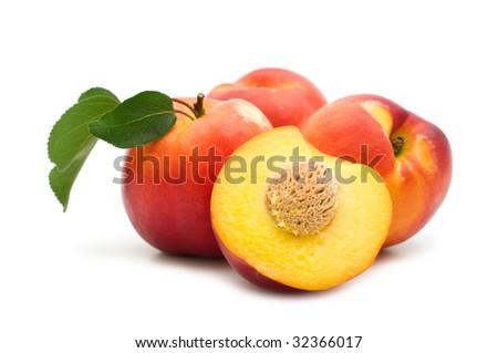 slice fresh nectarine on white background - stock photo