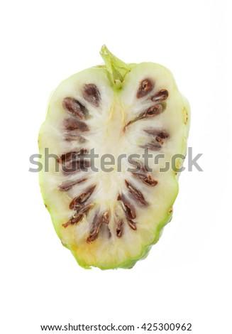 slice Noni Fruit isolated on white background. - stock photo