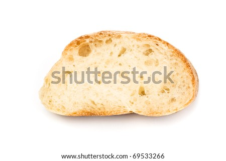 Slice of a homemade bread isolated on white. - stock photo