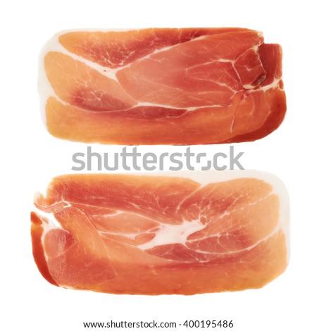 Slice of a prosciutto ham isolated - stock photo