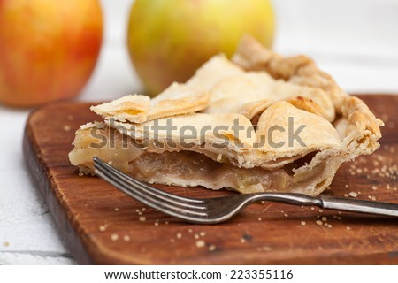 Slice of apple pie, heart crust topping