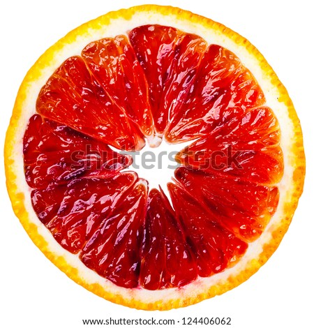 Slice of blood orange isolated on white background - stock photo