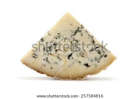 Slice of blue Stilton cheese on a white background