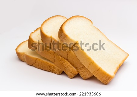 slice of bread on white background - stock photo