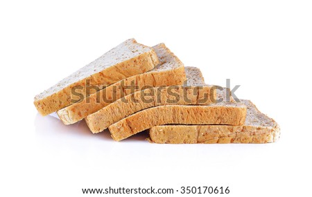 slice of bread on white background.