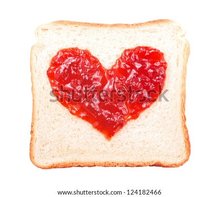 slice of bread with fruit jam heart shape on white background