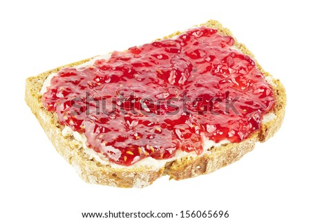 Slice of bread with raspberry jam isolated on white - stock photo
