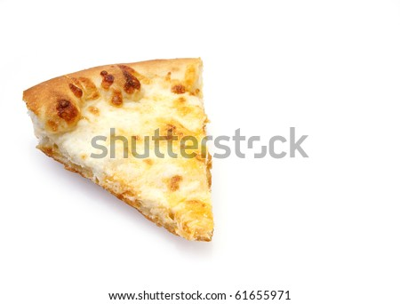 Slice of cheese pizza on white background with reflection and copy space - stock photo