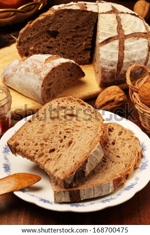Slice of country bread on the plate