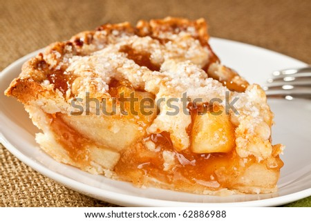 Slice of delicious fresh baked Rustic Apple Pie - stock photo