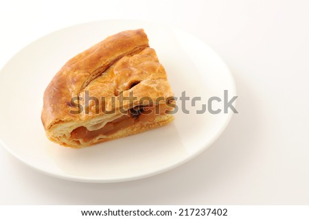 Slice of delicious fresh baked Rustic Apple Pie on plate isolated on white background - stock photo