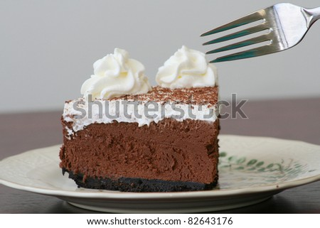 Slice of Delicious Sweet Chocolate Mousse Cake Dessert