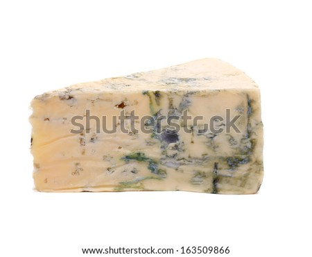 Slice of dor blue cheese. Isolated on a white background. - stock photo