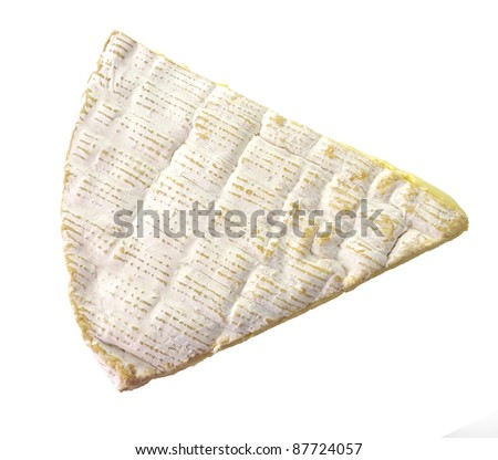 Slice Of French Brie Cheese On White Background, Top View - stock photo