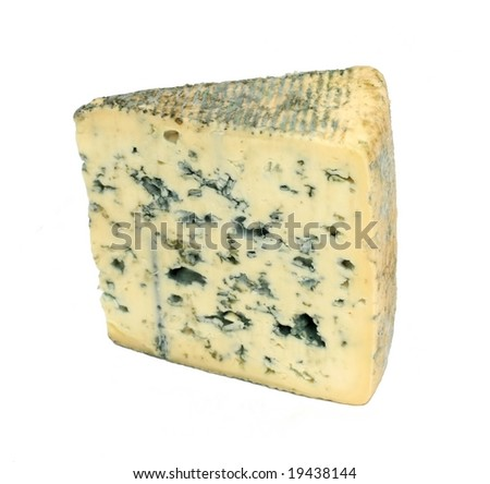 Slice of french musty cheese - Bleu d'auvergne variety - stock photo