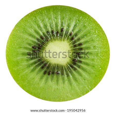 Slice of fresh kiwi fruit isolated on white background - stock photo