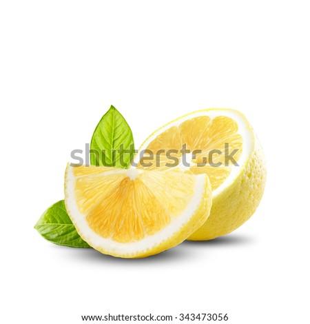 Slice of Fresh Lemon - stock photo