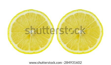 Slice of fresh lemon against white background