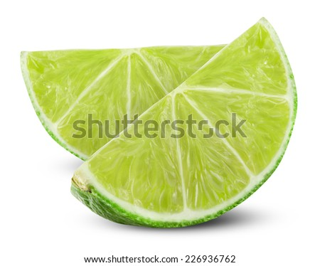 Slice of fresh lime isolated on white background. Clipping Path - stock photo