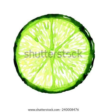 slice of fresh lime on white background - stock photo
