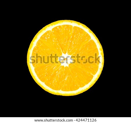 slice of fresh orange that were cut in half isolated on black background - stock photo