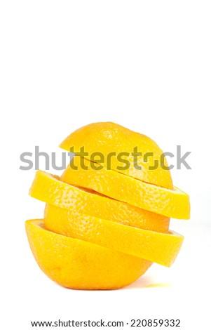 Slice of fresh ripe orange isolated on white background. - stock photo