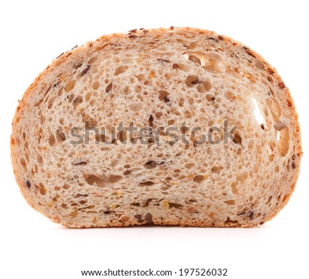 Slice of fresh white grained bread isolated on white background cutout - stock photo