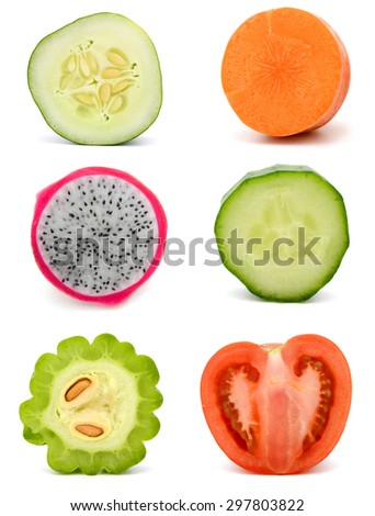 slice of fruit and vegetables - stock photo