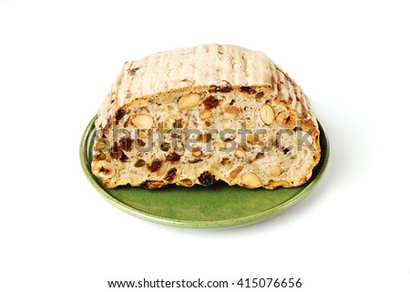Slice of healthy bread on white background        - stock photo