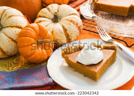 Slice of homemade pumpkin pie served on antique china. Background of assorted pumpkins and what is left of the baked holiday pie.  - stock photo