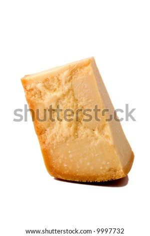 Slice of Italian Parmesan cheese isolated on white