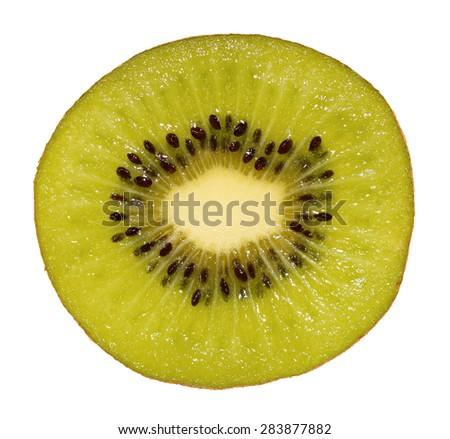 Slice of kiwi fruit isolated on white, macro/Kiwi/Slice of kiwi fruit isolated on white - stock photo