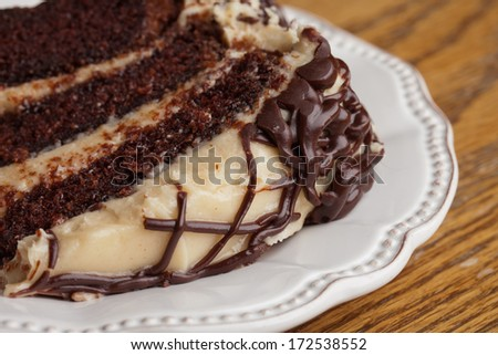 Slice of layered whipped peanut butter and chocolate cake - stock photo