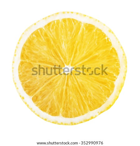 slice of lemon isolated on white background - stock photo